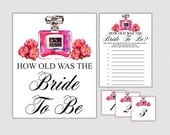 How Old Was the Bride To Be Game - Printable Floral Bridal Shower Game - Guess the Bride's Age - How Old Was She Pink - Floral Modern Bride