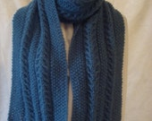 Women's  Scarf. Knit  Winter  Scarf. Fringed.Wide Long Mohair. Teal/Slate blue, CabledWhite Scarf,warm