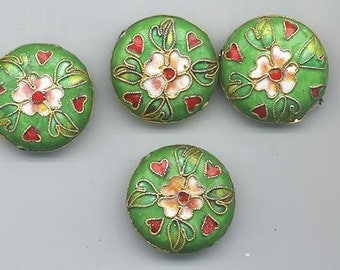 Four cloisonne beads - grass green background with flower and leaves - 24 mm flattened rounds
