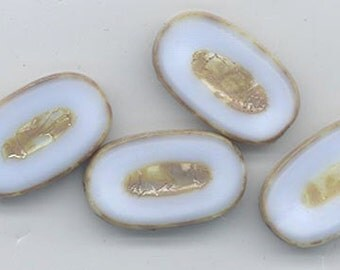 Four gorgeous table-cut Czech glass beads - pale milky blue with picasso accents - 22 x 13 mm