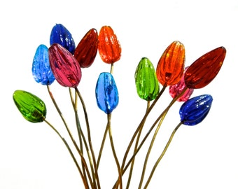 SUPPLY: 14 Colorful Flower Headpin - Glass Drops with Brass Wire - (4-D2-00004196) OS-yes