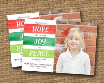 "Christmas Photo Card | DIY PRINTABLE | ""Hope, Joy, & Peace"" | Watercolor Stripes Christmas Card | Scripture, Bible Photo Card | U Print"