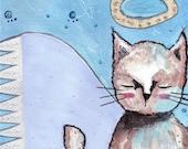 A Thoughtful Angel Cat. Original art. Fine Art Print, Original Art Work, Angel Art, Original Painting, Mixed Media, Whimsical Art, Cat Art