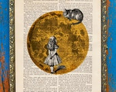 Midnight Cheshire Alice in Wonderland Print on an Unframed Upcycled Bookpage