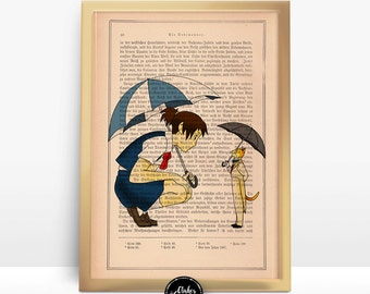 The Cat Returns - Moments Shared - Ghibli Print on an Unframed Upcycled Bookpage