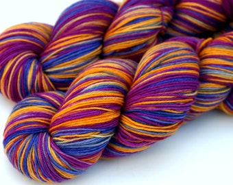 """Kettle Dyed Sock Yarn, Superwash Merino and Nylon 75/25 Fingering Weight, in """"Autumn Holiday"""""""