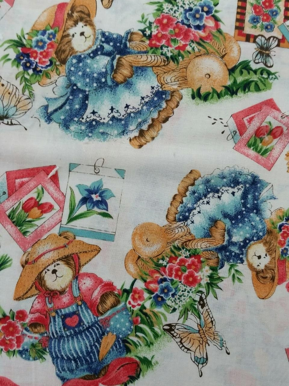 Vintage Bear And Seeds Quilt Fabric By The Yard