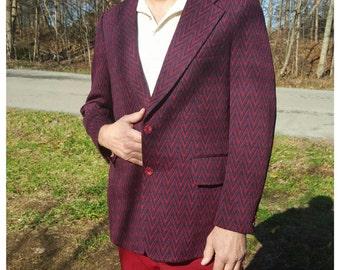 1960s Large Mens Zig Zag Coat 1970s Stanley Blacker Blazer Vintage Suit Jacket Navy Blue Red