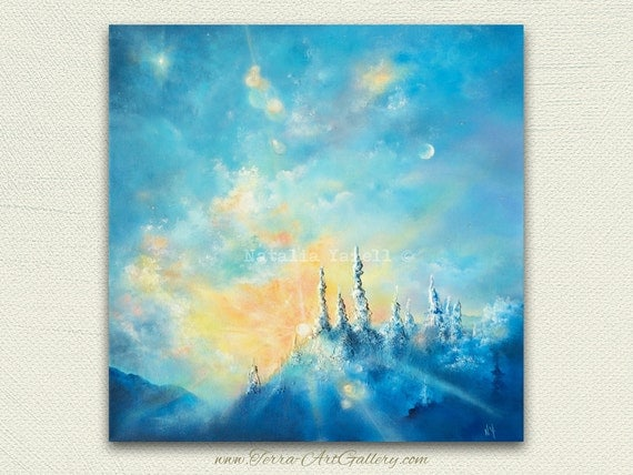 RESERVED (Part #1)  Anastasia, one of a kind acrylic / mixed media painting. Sunrise, clouds, stars, blue sky.