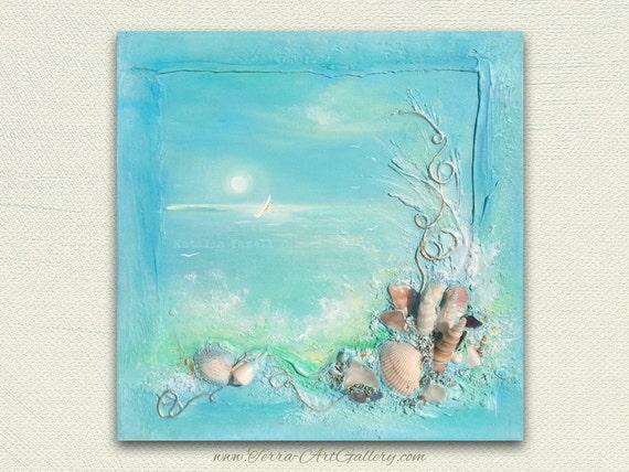 SALE. Chasing Dreams/Original Acrylic Mixed Media, beach home decor / nautical 3d / seashells, ocean, wave, abstract