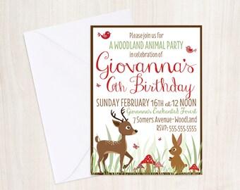 Woodland Animal Birthday Invite - Animal Woodland Invitation - Party Supplies