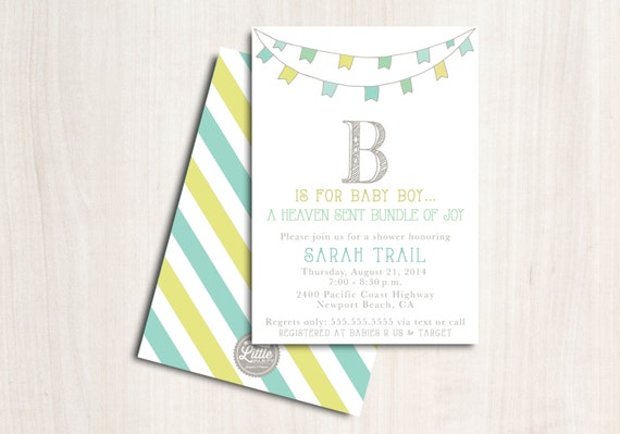 B is for Boy Baby Shower Invite - Shower Invitation - Baby Boy - Party Supplies