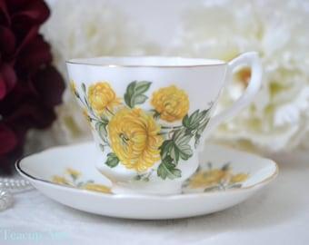 Lady Beth Yellow Floral Teacup And Saucer Set, English Bone China Tea Cup Set, ca. 1950
