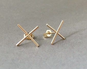 XX Post Earrings Gold Fill, Rose Gold Fill, or Sterling Silver