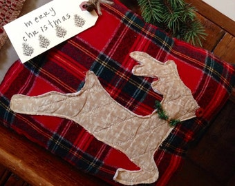 Primitive Christmas Reindeer Pillow Tuck~ Vintage Quilt~ Happy Holidays~ Rustic Christmas Decor~ Rudolph~ Cabin~ Country~ Merry Christmas