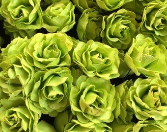 Set of 12 lime green Mulberry Paper Flowers