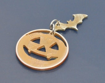 Halloween pumpkin and bat composition. Brown antique. Cut coin pendant necklace double charm. Coincut jewelry set.
