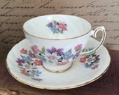 Vintage Rosina Tea Cup and Saucer  Bone China Made in England  Footed Cup Multi Colored Anemone Flowers