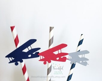 Vintage Airplane Straws | Airplane Baby Shower | Airplane Birthday | Gray, Navy, Red Airplanes | Airplane Straws | Airplane Decor |Set of 12