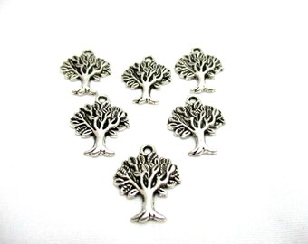 6pcs Oxidized Silver Tone Tree Charms - 22x17mm - Base Metal Charm - Jewelry Making Supplies