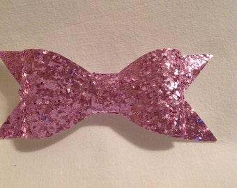 Glitter Hair Bows/Hair Accessories/Boutique Hair Bows/Hair Bows/Faux Leather Hair Bow