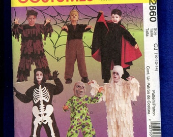 McCalls 2860 Scary Zombie Vampire & More Costumes for Kids Size 10..12..14