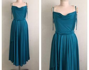 Emerald Nights dress // 1970s evening dress // 70s disco diva dress // s