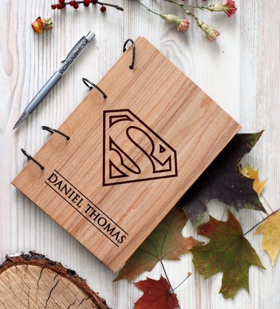 Comic Superhero Wooden notebook - Superman notebook - Custom Notebook - Personalized Engraved