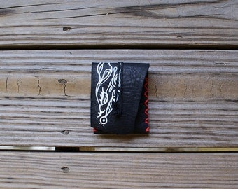 Standard Business Card Holder in Black with White Ink and Hot Red Stitching