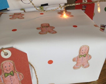 Gingerbread man wrapping paper, gift wrap, christmas paper, gingerbread, christmas