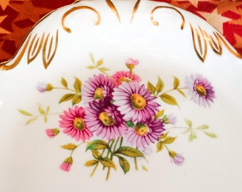 Vintage Hammersley Bone China Long Serving Platter with Pink and Purple Flowers and 24k Gold / Mint Condition