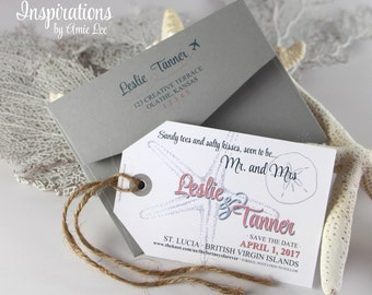 Save the Dates Luggage Tags, save the date, destination wedding, luggage tag