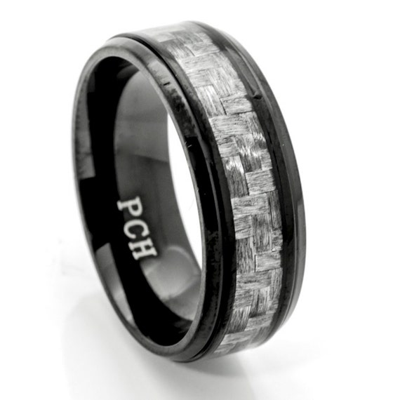 black titanium men 39 s wedding band ring with gray carbon
