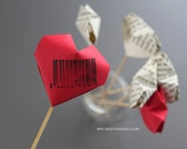 SALE 15% OFF . 6 origami heart cake picks . table decorations . Valentines Day hearts . wedding picks . {heart like a balloon} -barcode love