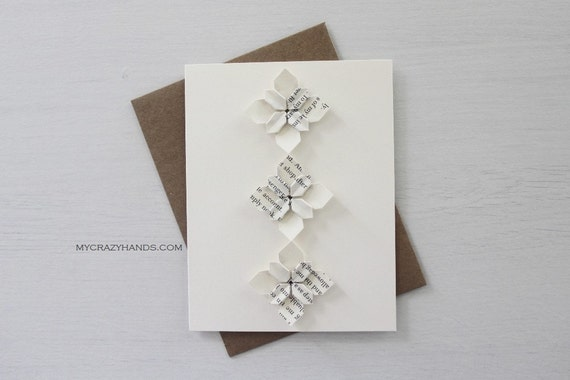 Origami flower greeting card anniversary