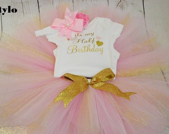half birthday outfit,FREE SHIPPING, birthday outfit, birthday girl outfit,1/2 birthday tutu,girl birthday outfit, 6 months celebration