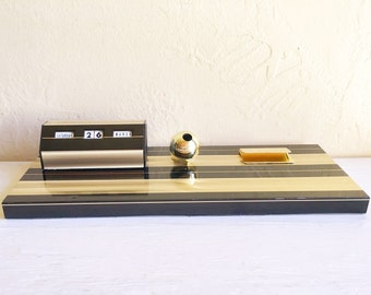 Mid-Century Black and Gold Desk Organizer Perpetual Calendar Pen Holder
