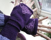 Fingerless arm warmers - knitted Irish wool - Celtic design - purple