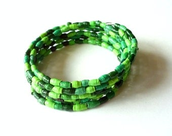 SALE Green beaded bracelet eco jewelry paper bead bracelet upcycled jewelry memory wire bracelet paper jewelry recycled bracelet