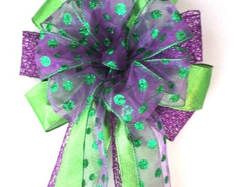 Christmas Bow / Tree Topper Bow / Wreath Bow /  Purple Bow / Purple & Lime Green Bow