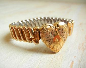 Vintage 1940's  Expansion Bracelet   Sweetheart Expansion Bracelet   10k Gold Filled Bracelet