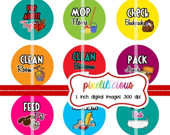Chore Chart Digital Bottle Cap Images - BRIGHT 2 -  Chore Chart with 30 Chores - 1 Inch Digital Collage - Instant Download
