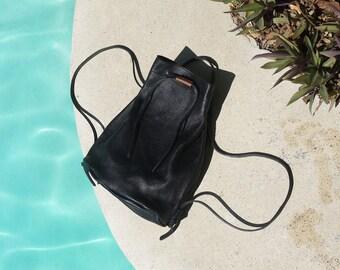 Pender LEATHER BUCKET BAG + Backpack | Black | Drawstring | All Leather | Leather Backpack| Bucket Bag | Back Pack