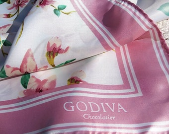 Godiva Chocolatier Scarf Silky Polyester Clean Soft Lovely large Pink Flowers and Border With White Free US Ship
