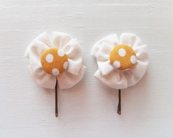 Bobby Pins with Bow-Like White Fabric Flowers and Covered Button Centers