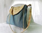 Purse, Shoulder Bag, Medium Purse, Medium Shoulder Bag, Messenger Bag, Leather Bag, Denim Bag, Leather and Denim, Recycled Repurposed Bag