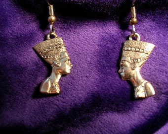 Nubian Queen  Earrings. Gold tone. Hypoallergenic wires/posts.