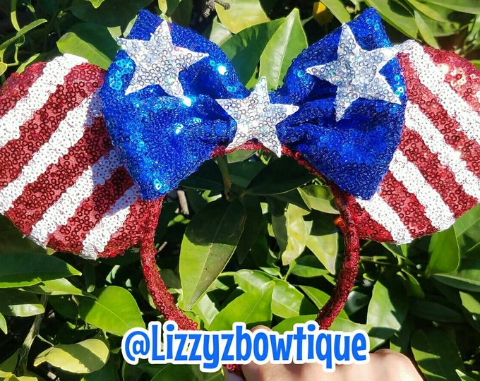 USA American Flag sequin Minnie ears