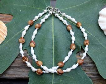 Navajo Ghost Beads, Freshwater Pearls, 2 Cedar Berry Bracelets, Native American , Beach Jewelry, Ankle Bracelets