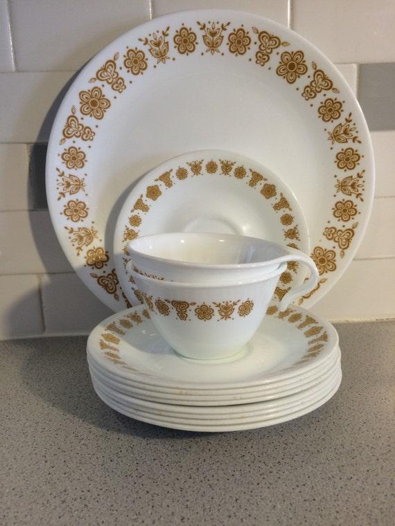 Pyrex Corelle Butterfly Gold Dinnerware